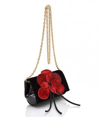 Замшевая сумочка Loriblu 0115 черная с алым цветком