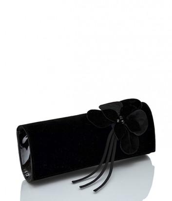Замшевый клатч Loriblu 0116 с цветком черный