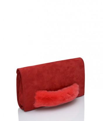 Замшевый клатч Loriblu 0106 с мехом красный