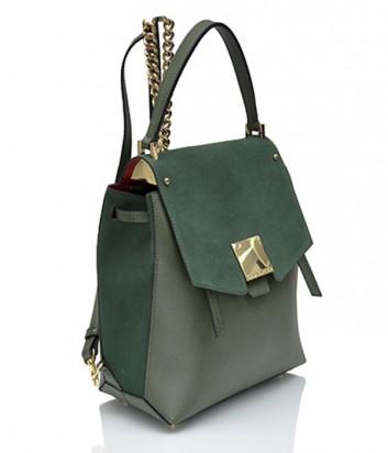 Кожаный рюкзак-сумка Carlo Salvatelli зеленый