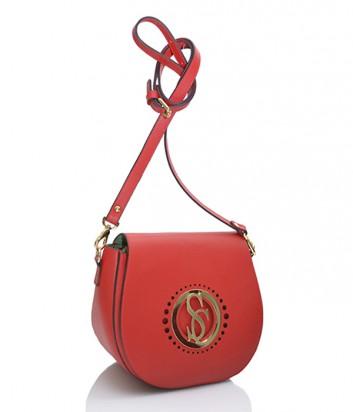 Кожаная сумочка через плечо Carlo Salvatelli красная