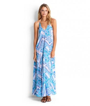 Легкое платье в пол Seafolly 53169-DR голубое
