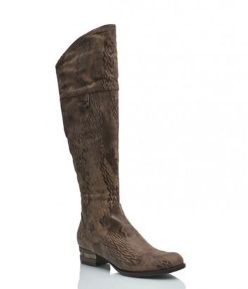 Фактурные кожаные сапоги Griff Italia 206 коричневые