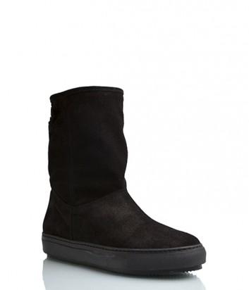 Замшевые ботинки Repo 26301 с мехом черные