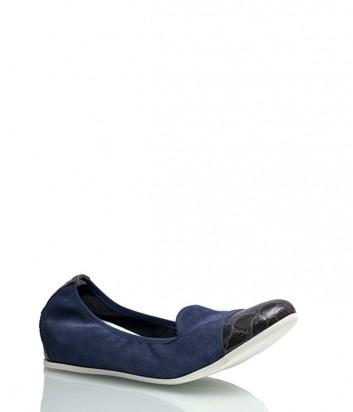 Замшевые балетки Griff Italia с лаковым носком синие
