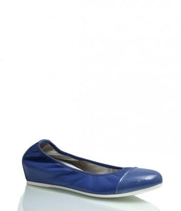 Кожаные балетки Griff Italia с лаковым носком синие