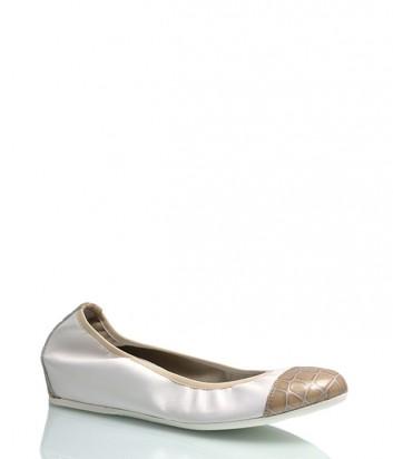 Кожаные балетки Griff Italia с бежевым носком белые