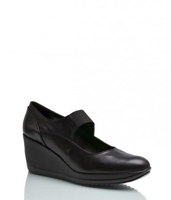 Кожаные туфли Repo 20118 на танкетке черные