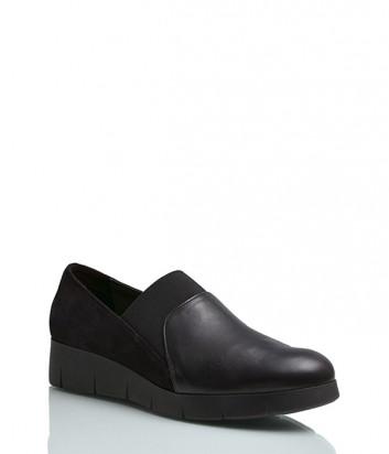 Кожаные туфли Repo 11107 на танкетке черные