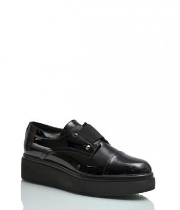 Лаковые туфли Repo 16101 на танкетке черные