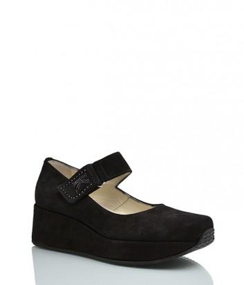 Замшевые туфли Kelton 9640 на танкетке черные