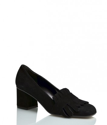 Замшевые туфли Griff Italia 51V на широком каблуке черные
