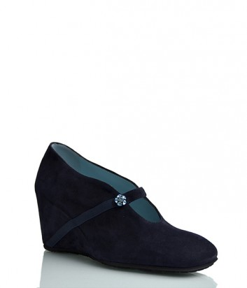Замшевые туфли Thierry Rabotin 109 на танкетке синие