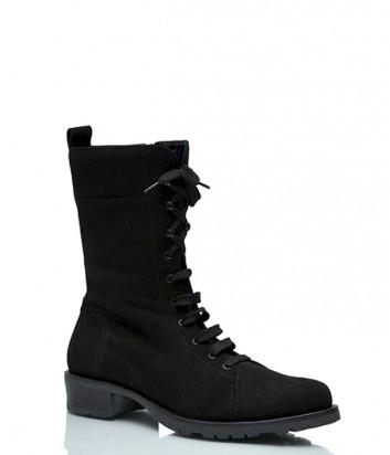 Замшевые ботинки Alessandro на шнуровке черные