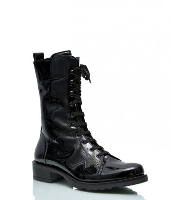 Лаковые ботинки Alessandro на шнуровке черные