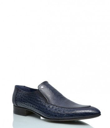 Туфли Mario Bruni 605 с тиснением под крокодила синие