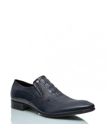 Туфли Mario Bruni 828 с тиснением под крокодила синие