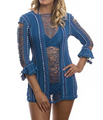 Пляжное ажурное мини платье Despi 1414 синие