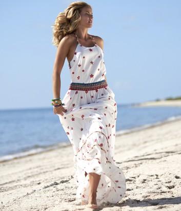 Длинное пляжное платье Despi 1750 белое в яркий принт