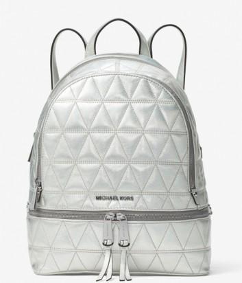 Рюкзак Michael Kors Rhea из стеганной кожи серебряный