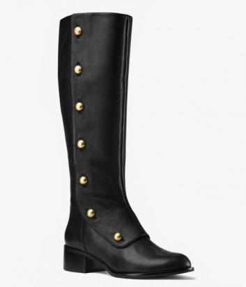 Кожаные сапоги Michael Kors Maisie на маленьком каблуке черные