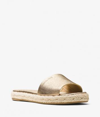Кожаные сланцы Michael Kors Dempsey с плетенной танкеткой золотые