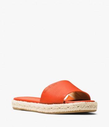 Кожаные сланцы Michael Kors с плетенной танкеткой оранжевые