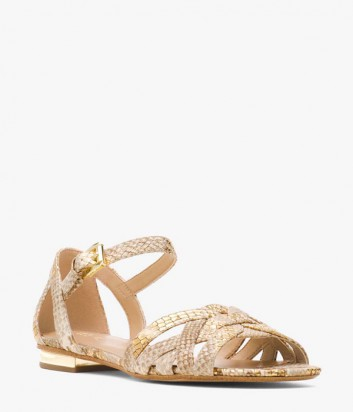 Кожаные сандалии Michael Kors Annaliese бежево-золотые
