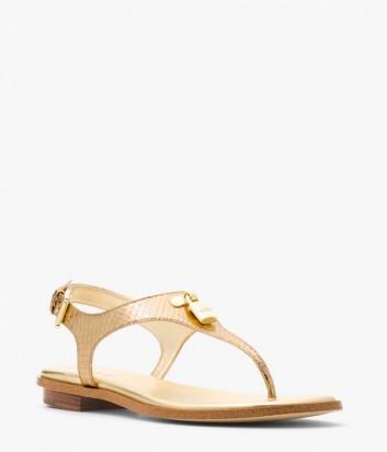 Кожаные сандалии Michael Kors Mira золотые с тиснением под змею