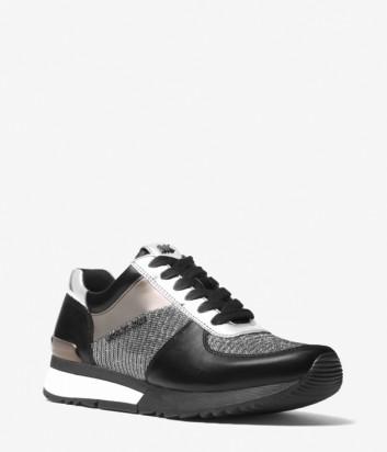 Черные кожаные кроссовки Michael Kors Allie с золотыми вставками