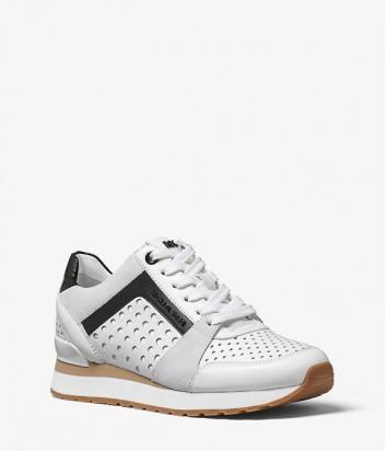 Кожаные кроссовки Michael Kors Billie с замшевыми вставками белые
