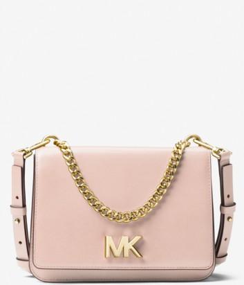 Кожаная сумка Michael Kors Mott декорирована цепочкой нежно-розовая