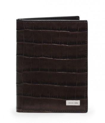 Обложка для паспорта Michael Kors Bryant с тиснением под крокодила коричневая
