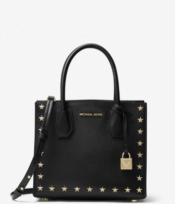 Кожаная сумка Michael Kors Mercer декорирована заклепками в виде звезд черная