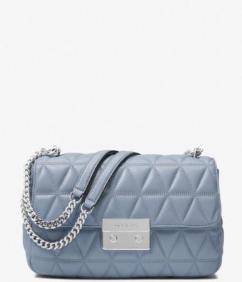 Стеганная кожаная сумка Michael Kors Sloan Large голубая
