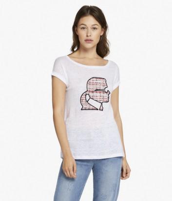 Льняная футболка Karl Lagerfeld KARL PROFILE белая