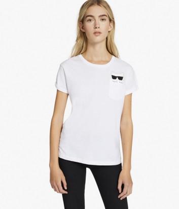 Хлопковая футболка Karl Lagerfeld IKONIK CHOUPETTE белая