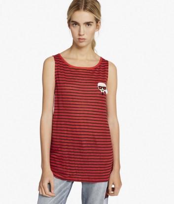 Льняная майка Karl Lagerfeld KARL LOVE красная в полоску
