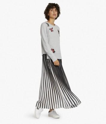 Плиссированная макси юбка Karl Lagerfeld черно-белая