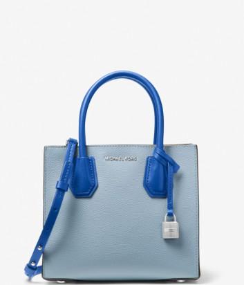 Кожаная сумка Michael Kors Mercer Color-Block комбинированная голубая