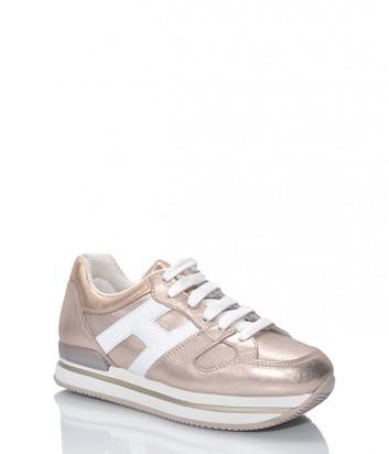 Кожаные кроссовки HOGAN на высокой танкетке в розовом золоте