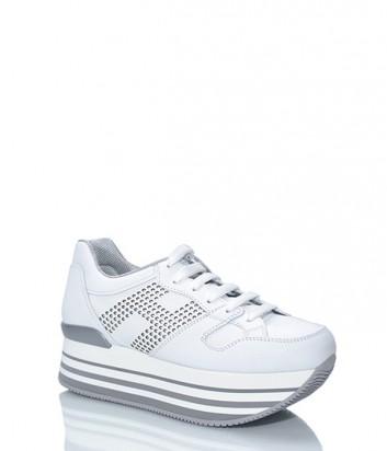 Кожаные кроссовки HOGAN на высокой танкетке белые