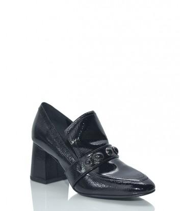 Лаковые туфли ASH на широком каблуке черные