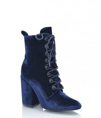 Роскошные бархатные ботильоны Kendall+Kylie на шнуровке синие