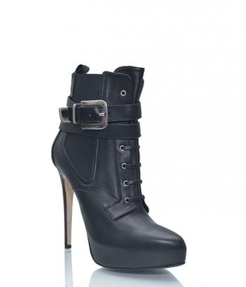 Кожаные ботильоны Le Silla на высоком каблуке черные