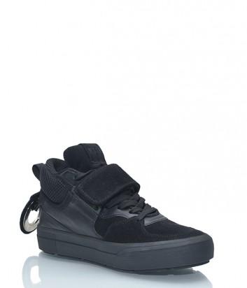 Кожаные кроссовки MSGM комбинированные с замшей черные