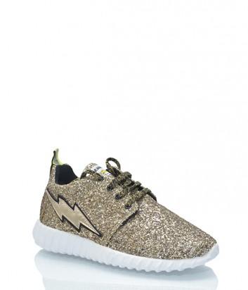Кожаные кроссовки Leo Studio Design с глиттерным покрытием золотые