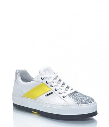 Кожаные белые кроссовки Iceberg с глиттерным носочком и желтой полоской