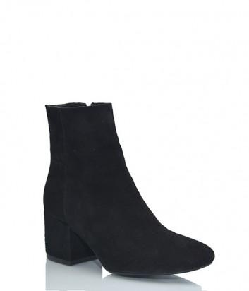 Замшевые ботинки Laura Busi на широком каблуке черные