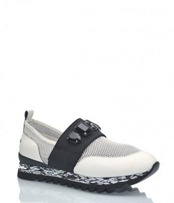 Белые кожаные кроссовки Apepazza с черными кристаллами